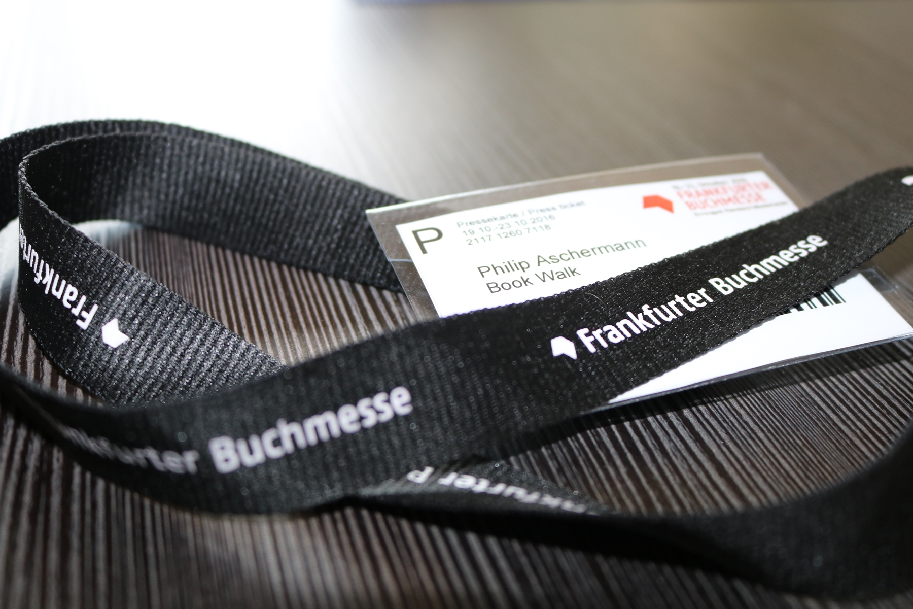 Presseausweis nach der Akkreditierung für die Frankfurter Buchmesse 2016